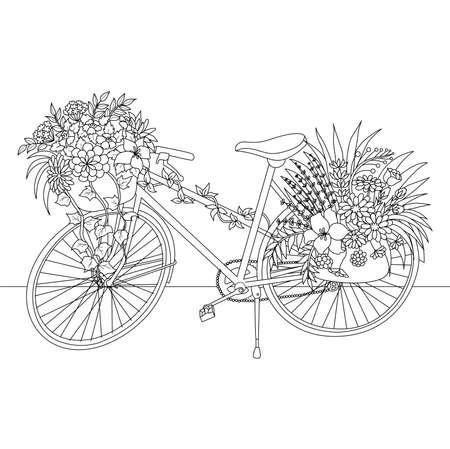 Grafika liniowa roweru ozdobiona kwiatami na element projektu. Ilustracja wektorowa