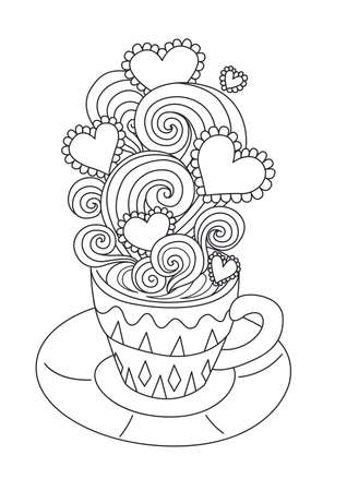 Line art design of hot coffee with beautiful scrolling,heart frame for your text. Vector illustration