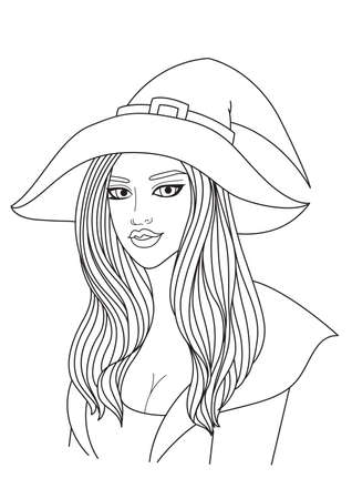 Simple line of sexy witch for design element for Halloween. Vector illustration Stock Illustratie