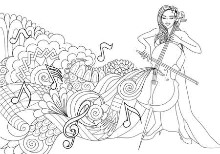 Beautiful girl playing cello with abstract music wave and notes for design element and coloring book page. Vector illustration.