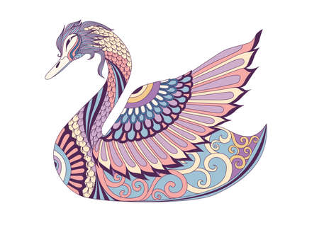 Colorful swan for design element. Vector illustration