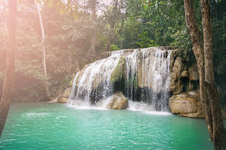 Big waterfall in forest, Erawan waterfall, Kanchanaburi, Thailand 2018 스톡 콘텐츠