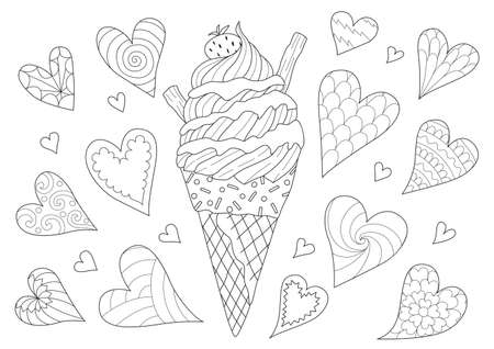 Line art design of ice cream cone for design element and coloring book page. Vector illustration