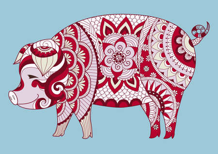 Zendoodle design of cute colorful pig for t shirt design, tattoo and sign of 2019. Vector illustration Illustration