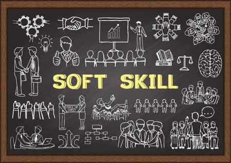 Illustrazione disegnata a mano su Soft Skill sulla lavagna. Illustrazione vettoriale Vettoriali