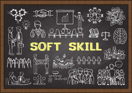 Hand drawn illustration about Soft Skill on chalkboard. Vector illustration