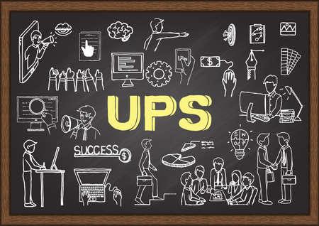 Illustration dessinée à la main sur l'acronyme UPS pour Unique Selling Proposition sur tableau noir. Illustration vectorielle Vecteurs