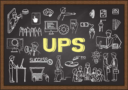 Hand drawn illustration about UPS acronym for Unique Selling Proposition on chalkboard. Vector illustration
