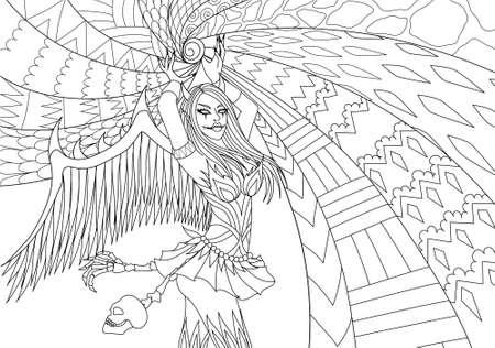 Pagine da colorare. Libro da colorare per adulti. Ragazza in costume di Hallween con potere.Antistress schizzo a mano libera disegno con elementi doodle e zentangle. Illustrazione vettoriale