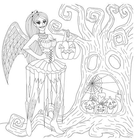 Halloween Coloring Pages. Coloring Book for adults. Gothic girl, horror background with castle, pumpkins and owl. Antistress freehand sketch drawing with doodle and zentangle elements.