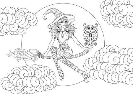Beautiful little witch sitting on a magic bloom with night owl among clouds and moon, line art zentangle stylized for coloring book page for anti stress. Vector illustration