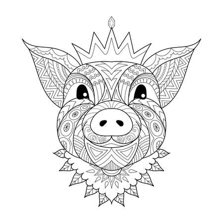 Zen stylized of pig baby wearing crown the Chinese sign of year 2019 for coloring book page, printed tee and so on. Vector illustration Illustration