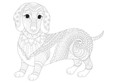 Simple lines stylized of Dachshund puppy for coloring book page for anti stress. Vector illustration