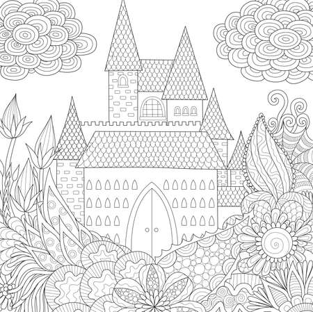 Line art design of jungle and castle coloring Book for adults. Vector illustration. Antistress freehand sketch drawing with doodle.