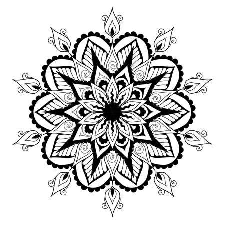 Mandala design for design element and coloring book page for anti stress. Vector illustration Illustration