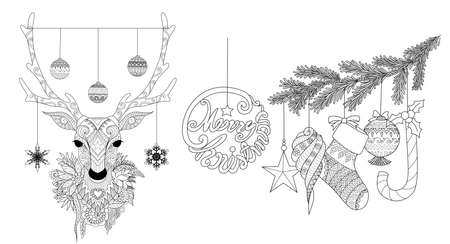 Zentangle stylized of Christmas deer and ornaments for coloring book pages for anti stress,engraving and so on, hand drawn set. Vector illustration Illustration
