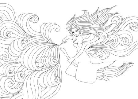 Halloween Coloring Pages. Coloring Book for adults. Beautiful witch spelling with scrolling magic. Antistress freehand sketch drawing with doodle and zentangle elements.