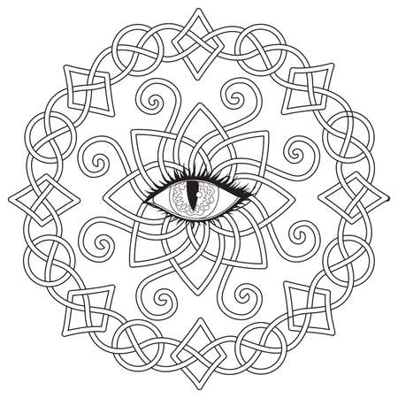 Celtic frame with vampire eye in the middle, Halloween theme for coloring book, coloring page for anti stress, printed tee and so on. Vector illustration Banque d'images - 108018236