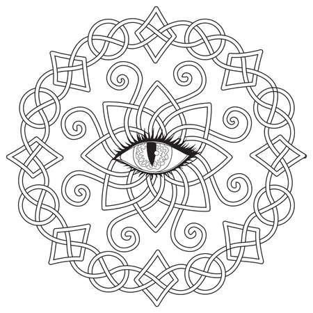 Ramka celtycka z okiem wampira pośrodku, motyw Halloween do kolorowania, kolorowanka dla antystresu, drukowana koszulka i tak dalej. Ilustracja wektorowa