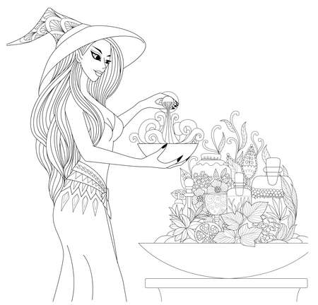 Beautiful witch preparing a potion with apothecary bottles and herbs for Halloween theme. Coloring book pages design.Vector illustration