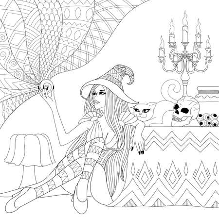 Colouring Pages. Coloring Book for adults. Halloween girl or witch with crystal ball. Horror background with skull,candles and cat. Antistress freehand sketch drawing with doodle elements. Stock Illustratie