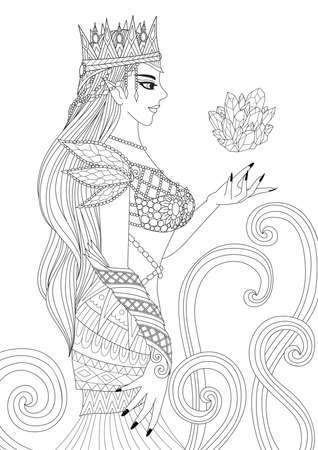 Beautiful queen witch doing black magic for coloring book pages for anti stress and design element for Holloween theme. Vector illustration