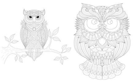Boho owls set for tattoo, t shirt design, coloring book,coloring page for anti stress and so on. Freehand drawing. Vector illustration Illustration