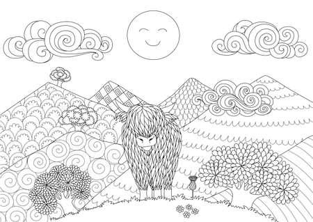Niedliche Hochlandkuh, die auf dem Hügel für Gestaltungselement und Malbuchseite für Erwachsene geht. Vektorillustration