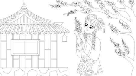 Chinese girl wearing traditional costume enjoy plum flowers under the tree, for design element and coloring book page for anti stress.Vector illustration