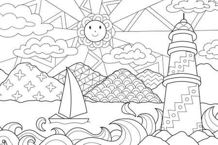 Seascape prosta linia sztuki projektowania do kolorowania książki dla dzieci, anty stres kolorowanki - Grafika wektorowa - Grafika wektorowa