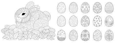 Happy Easter set for coloring book and other design element. Vector illustration