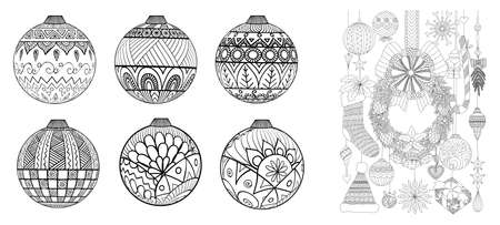 Zendoodles design of Christmas ornaments for adult coloring book page and design element.Vector illustration.