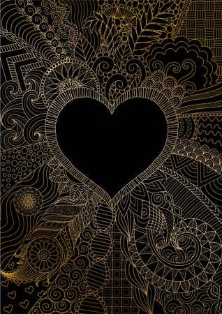 golden lines around hearted shape for background. Vector illustration