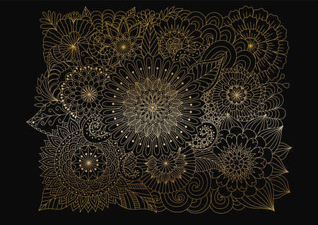 Beautiful drawings in golden lines on black background for design element.