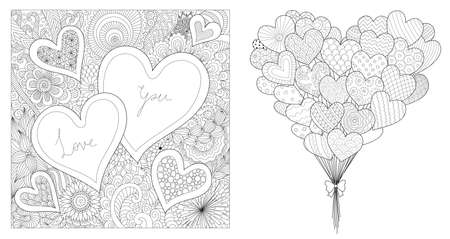 design of hearted shapes set, for printing on cards and coloring for adult. Vector illustration 向量圖像