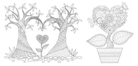 Hearted shap flowers and tree for Velentines card,wedding invitation,engraving and coloring page for adult. Vector illustration