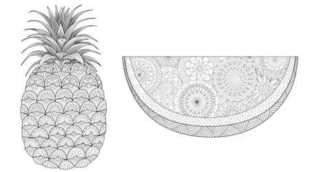 Set di ananas e anguria per la stampa e la pagina del libro da colorare. Illustrazione vettoriale Vettoriali