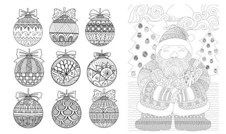 Christmas set for design element and coloring book page .Vector illustration Çizim