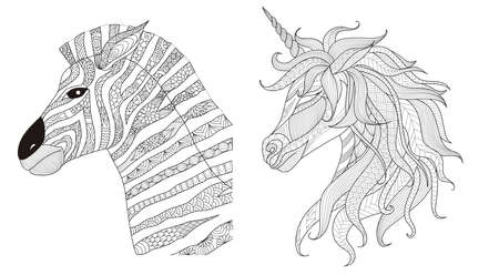 Zebra and unicorn stylize for print and coloring book for anti stress.Vector illustration
