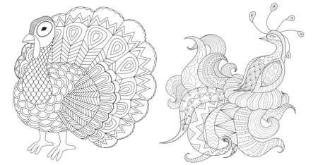 Truthahn- und Pfauensammlung zum Ausmalen von Buchseiten und gedrucktem Design. Vektor-Illustration Vektorgrafik