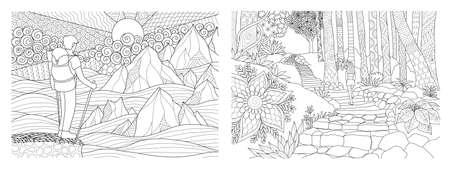 Viajando en la naturaleza colección de páginas para colorear para adultos. Ilustración vectorial
