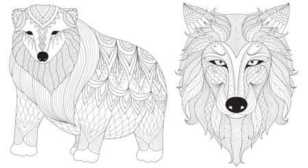 Polar bear and wolf line art design for coloring book,coloring page and design element.Vector illustration