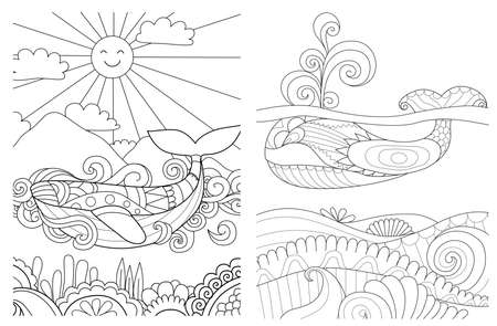 Whales in the ocean set for coloring book for anti stress.Vector illustration Çizim