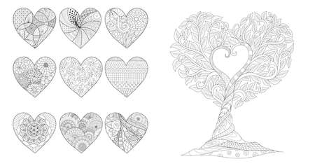 hearts and tree for Valentines card or wedding invitations and coloring page for anti stress.Vector illustration Vetores