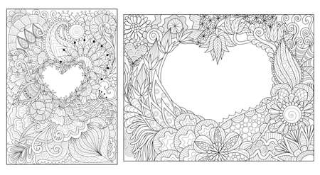 Florals lay in heart shape for cards and coloring book page. Vector illustration