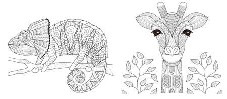 Chameleon and giraffe set for coloring book page and other printed product. Vector illustration Vettoriali