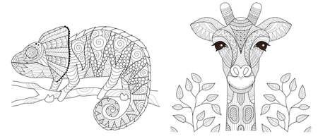 Set camaleonte e giraffa per la pagina del libro da colorare e altri prodotti stampati. Illustrazione vettoriale Vettoriali