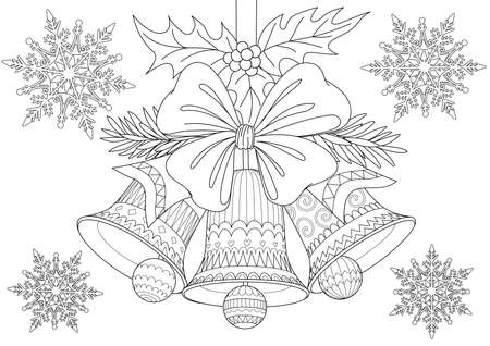 Beautiful Christmas bells,bow and leaves with falling snowflakes for cards, illustration and coloring book page for anti stress. Stock Vector