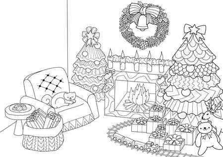 Coloring book, Coloring page of   stylized Christmas tree,fireplace,armchair for Santa clause, Christmas wreath and presents.Vector illustration Illustration
