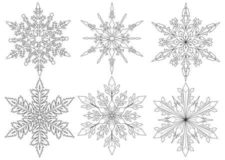 Six snowflakes for coloring book, coloring pages and design element for Christmas.Vector illustration 版權商用圖片 - 127434830
